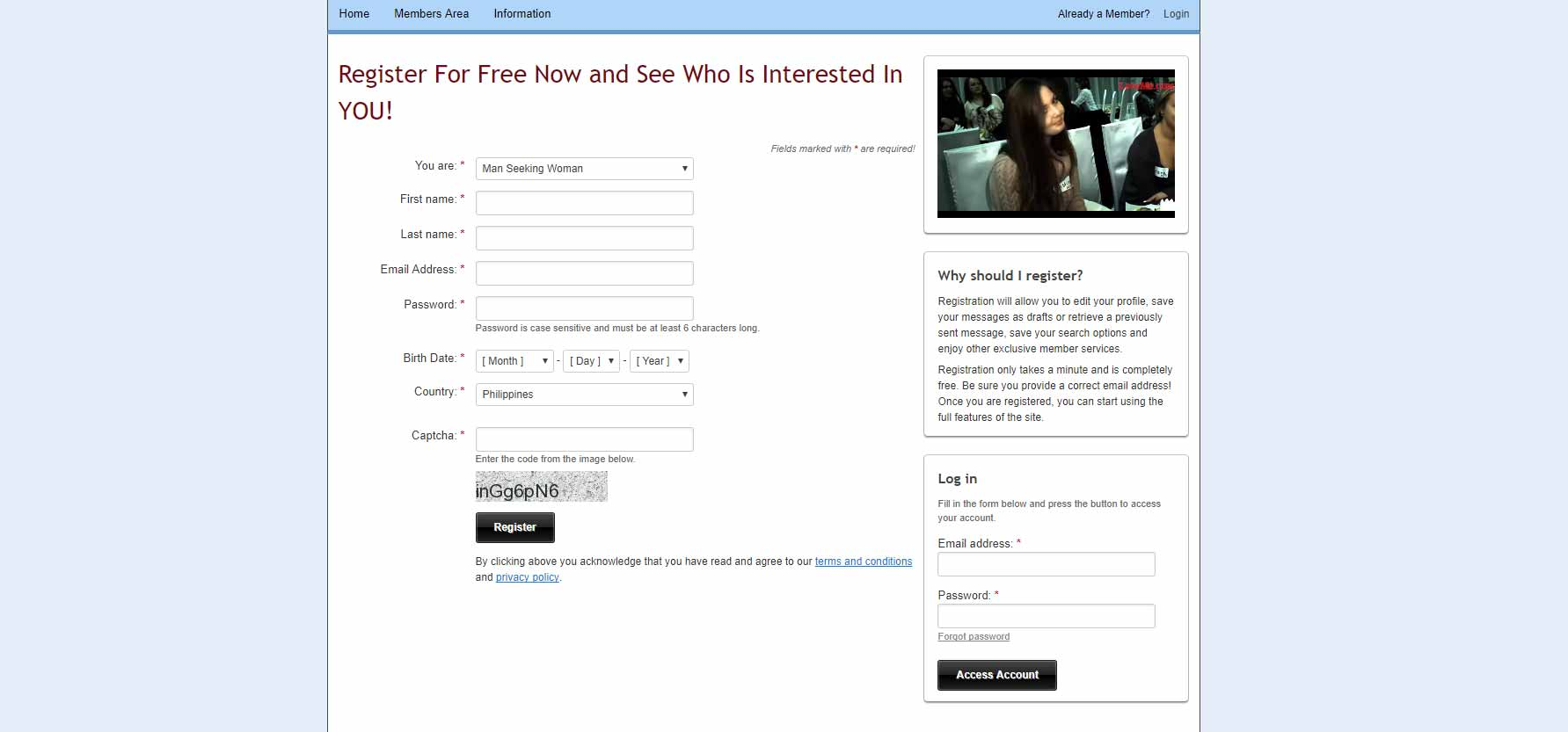 A Foreign Affair registration page image for international dating site review