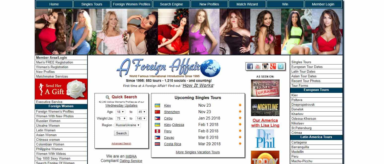 A Foreign Affair home page image for international dating site review