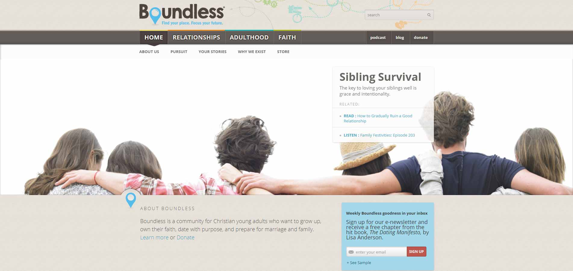 Boundless home page image for international dating site review
