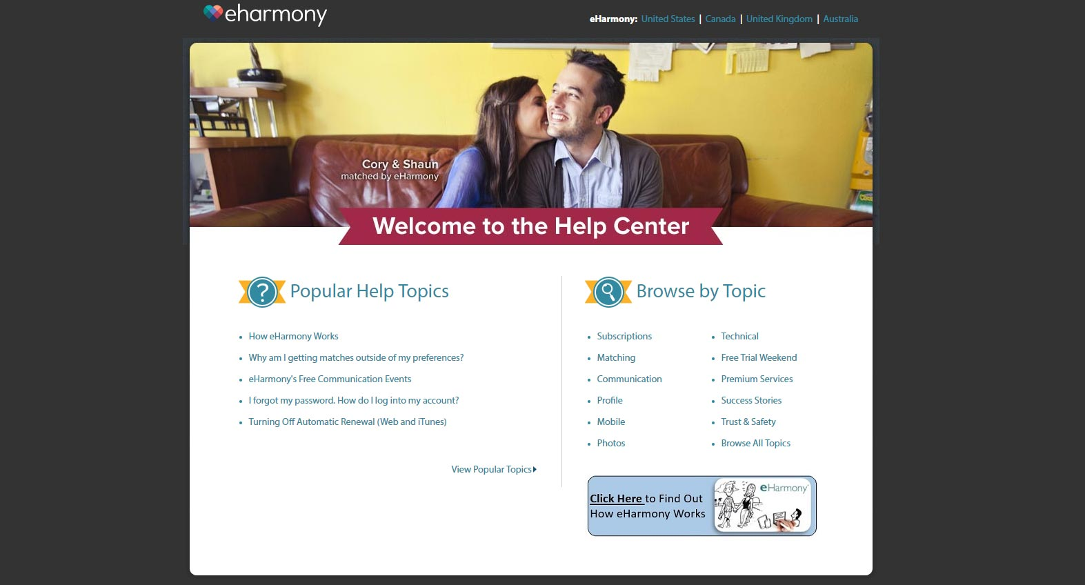 eHarmony help page image for international dating site review