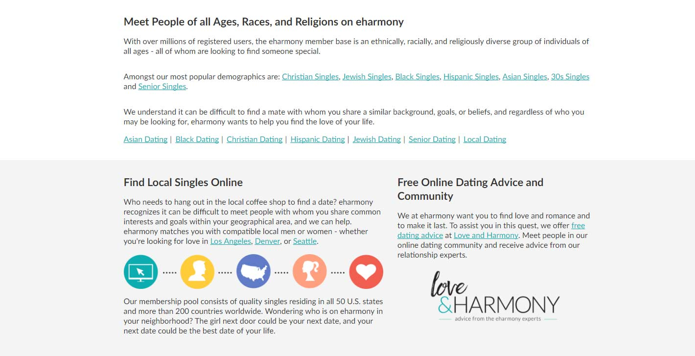 eHarmony preference page image for international dating site review