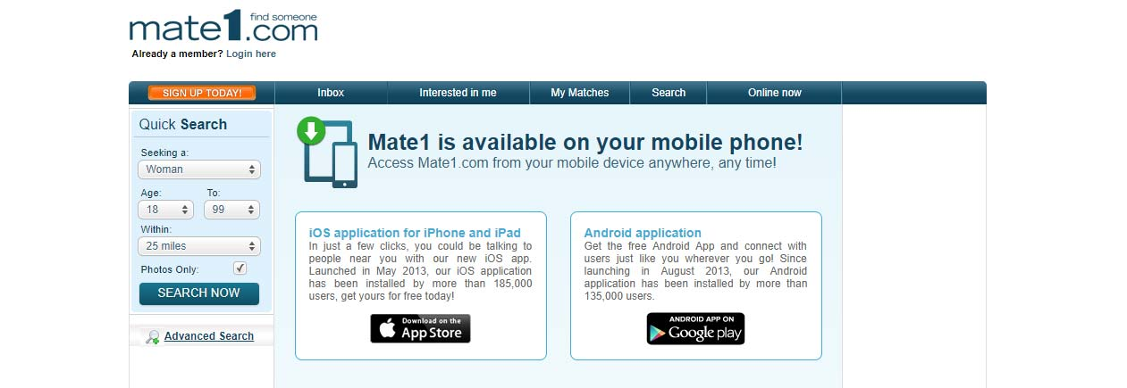 International Dating Site Review for Mate1 com