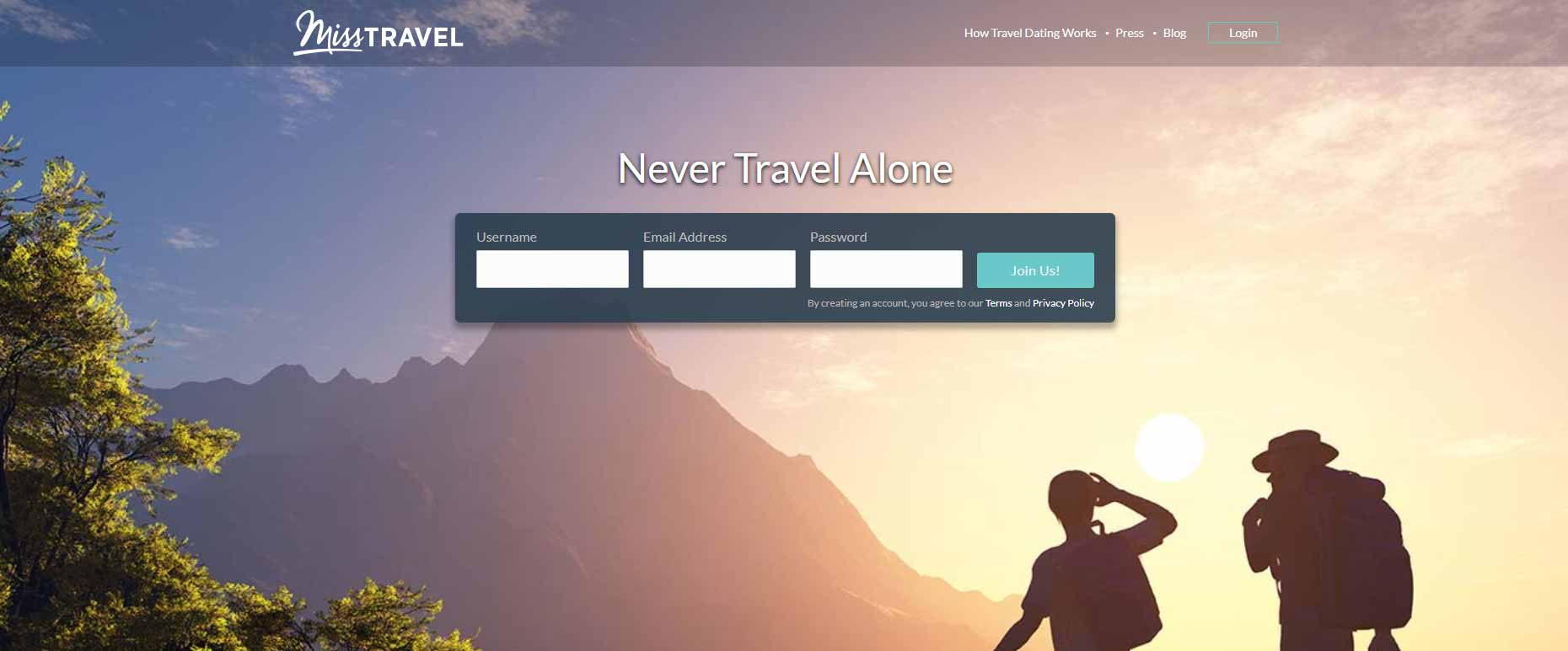 Miss Travel home page image for international travel and dating site review
