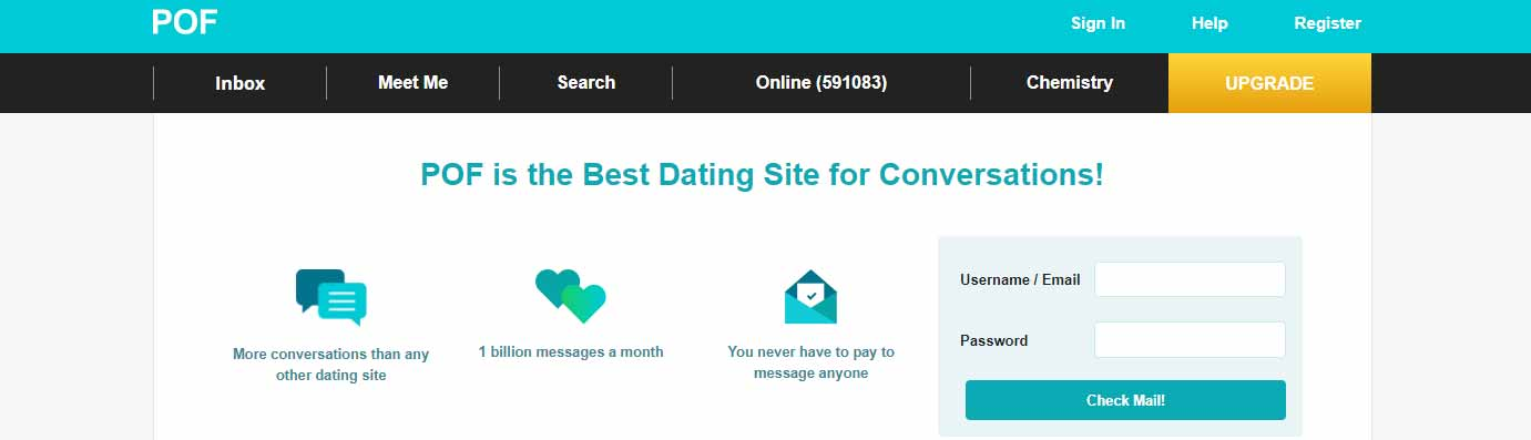 Plenty of Fish home page image for international dating site review