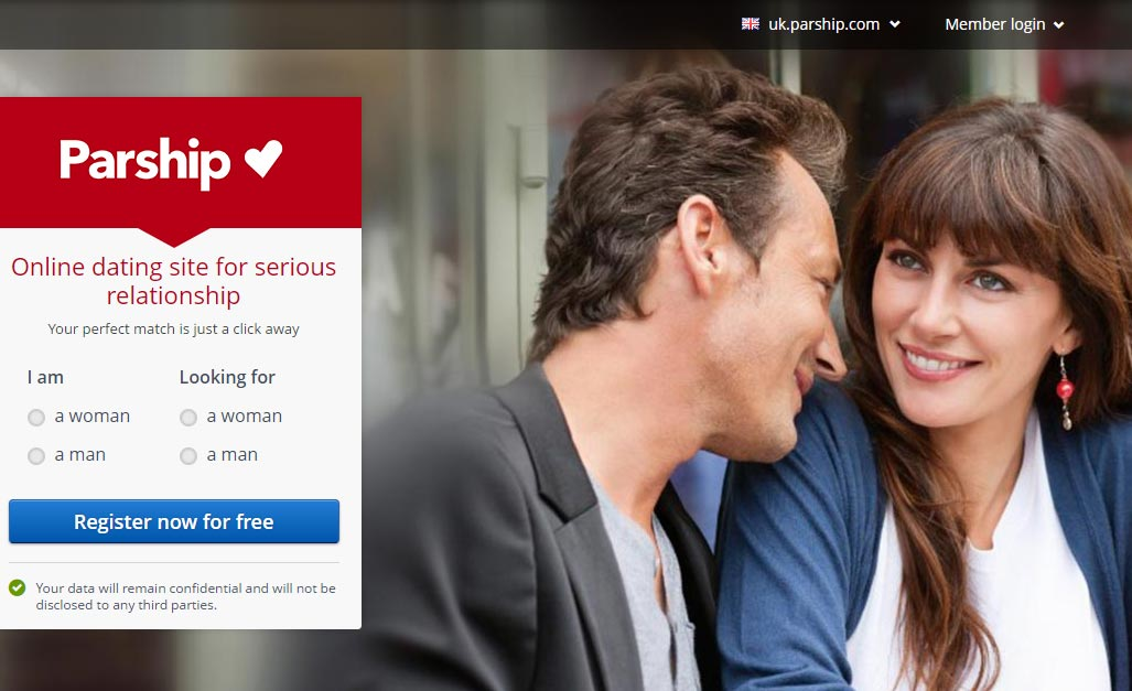 Parship homepage screenshot for international dating site review