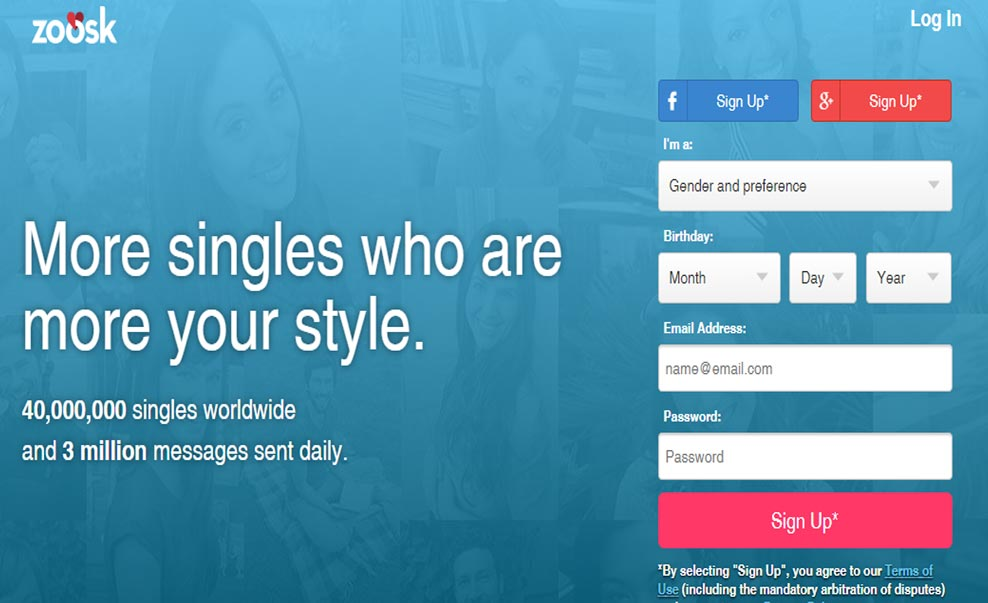 Zoosk homepage and sign up image for international dating site review