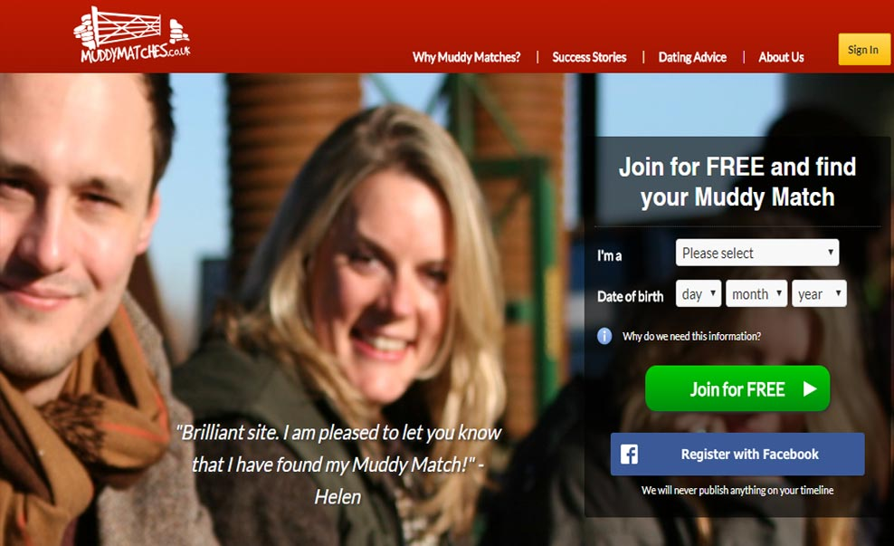 Image still of Muddy matches homepage for international dating site review