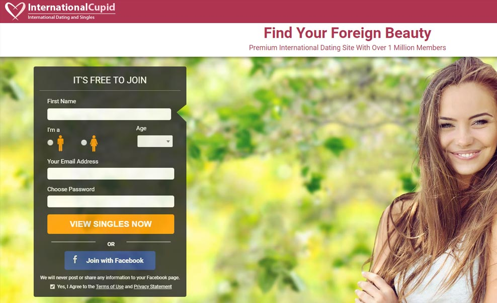 International Cupid screenshot of homepage for international dating site review