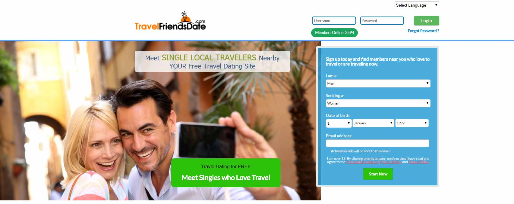Travel Friends Date home page image for international travel and dating site review