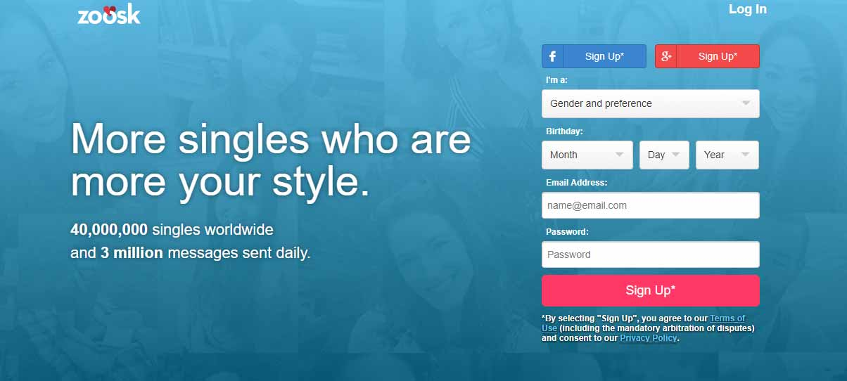 Zoosk homepage for international dating site review